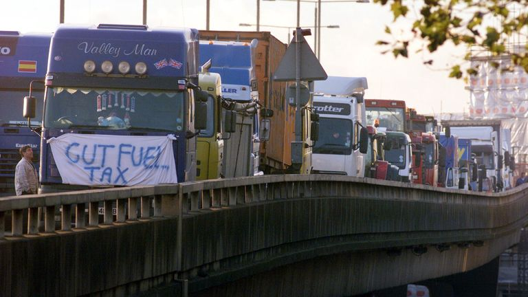 Fuel protesters' lorries line a fly-over on the A40