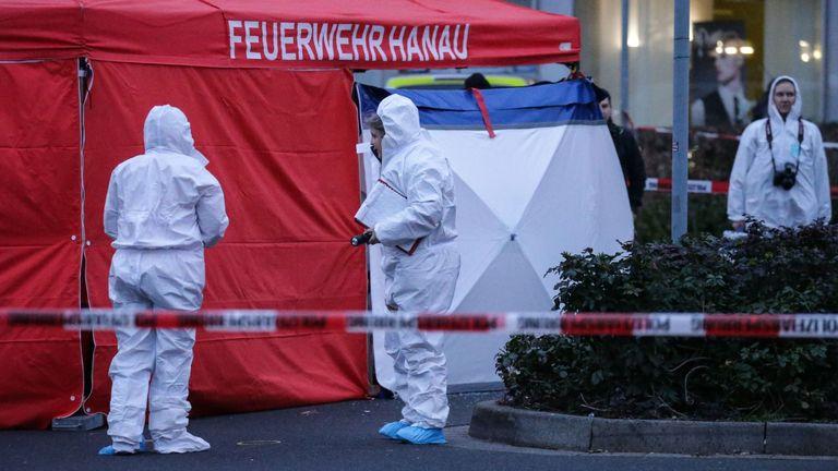 Forsenic police at the scene in Hanau, Germany
