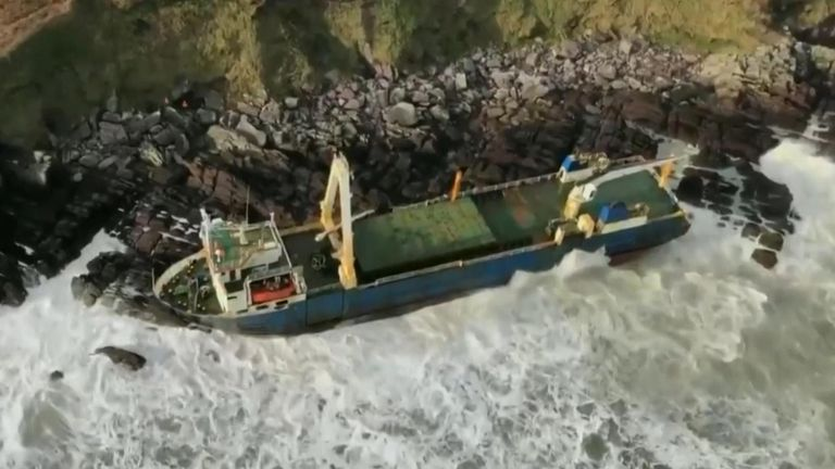 Ireland's coast guard has warned the public to stay away from a large cargo ship which washed up on the coast of County Cork after a large storm hit the UK.