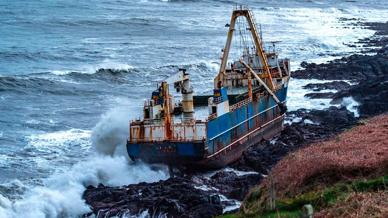 Ship run aground at Ballycotton. Pic: Michael Mac Sweeney/Provision