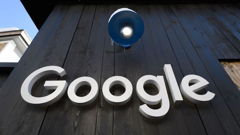 A Google logo is seen on the brand's stand ahead of the annual meeting of the World Economic Forum (WEF) in Davos, on January 20, 2020. (Photo by Fabrice COFFRINI / AFP) (Photo by FABRICE COFFRINI/AFP via Getty Images)