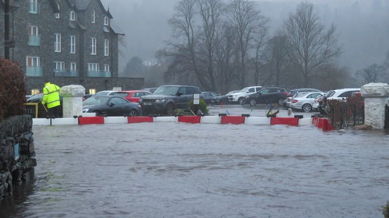 Flooding in Grasmere, Cumbria, during Storm Dennis. Pic: Will Smith