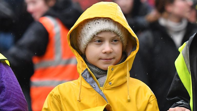 Swedish environmentalist Greta Thunberg joins demonstrators in Bristol