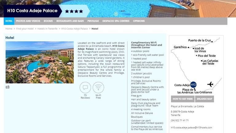 H10 Hotels describes the Costa Adeje Palace in Tenerife as 'iconic' on its website