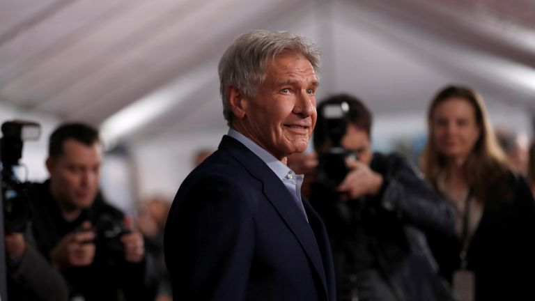 "Harrison Ford poses at the premiere of ""The Call of the Wild"" in Los Angeles"