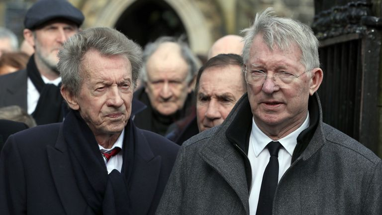 Denis Law and Sir Alex Ferguson were among those at the funeral