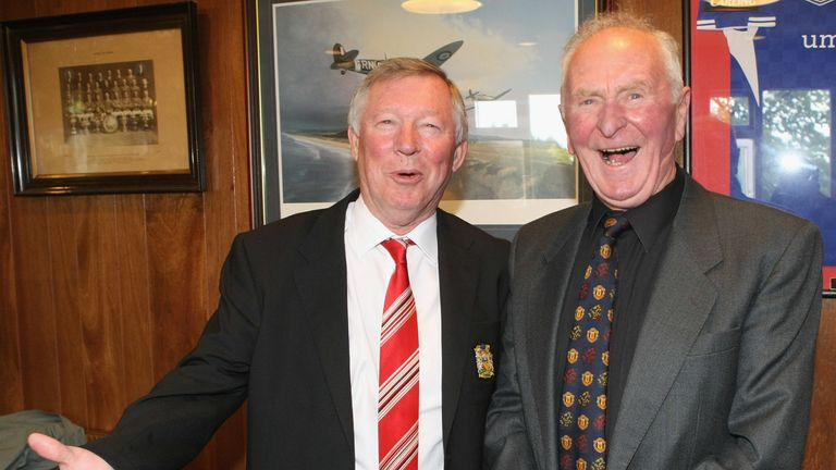 Gregg poses with then United boss Sir Alex Ferguson ahead of a 2012 testimonial match in his honour