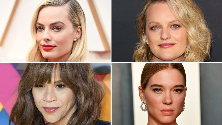 Clockwise from top left: Margot Robbie, Elizabeth Moss, Lea Seydoux, Rosie Perez