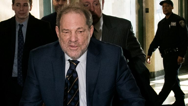 Harvey Weinstein arrives for his sexual assault trial
