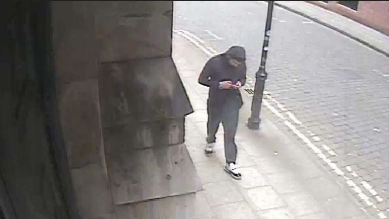 CCTV image of Salman Abedi outside his flat on his phone on Granby Row, Manchester city centre