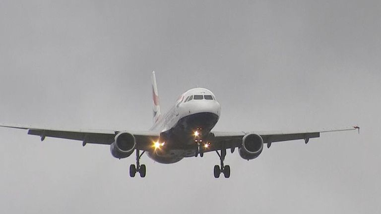 Planes landing at Heathrow airport during storm Dennis