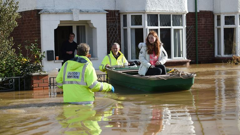 Residents were evacuated by boat in Hereford