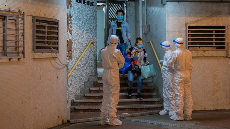 A block of flats in Hong Kong's Tsing Yi district was evacuated after officials suspected the plumbing of spreading coronavirus