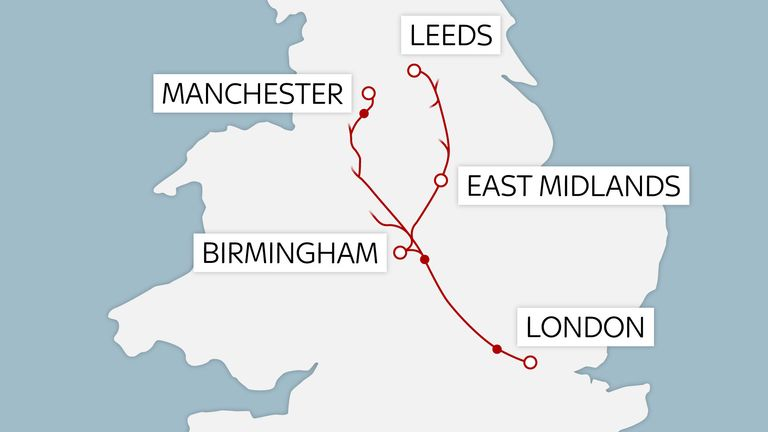 HS2 will run from London to the West Midlands and then on towards Leeds and Manchester