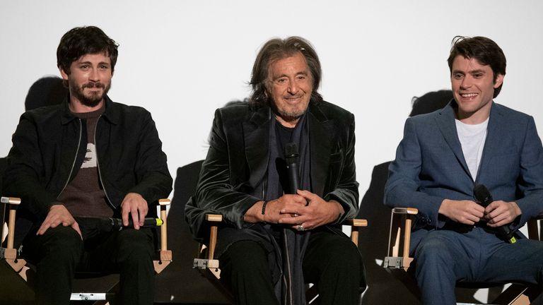 Hunters stars Logan Lerman (left), Al Pacino and series creator David Weil. Pic: Amazon Prime Video
