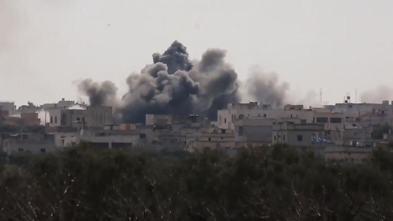 Explosion in Syria after unguided barrel bomb is dropped