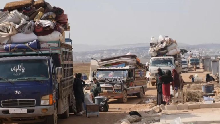 Trucks piled high as people try to escape Idlib