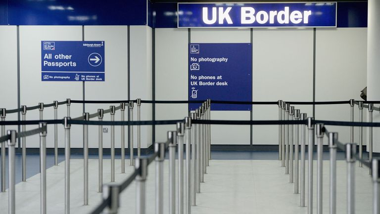 EDINBURGH, SCOTLAND - FEBRUARY 10: Immigration and border control signs at Edinburgh Airport on February 10, 2014 in Edinburgh, Scotland. A recent survey has shown that Scottish people have a more open attitude to immigration than people in England and Wales, according to a poll today for Oxford Universitys Migration Observatory. (Photo by Jeff J Mitchell/Getty Images)