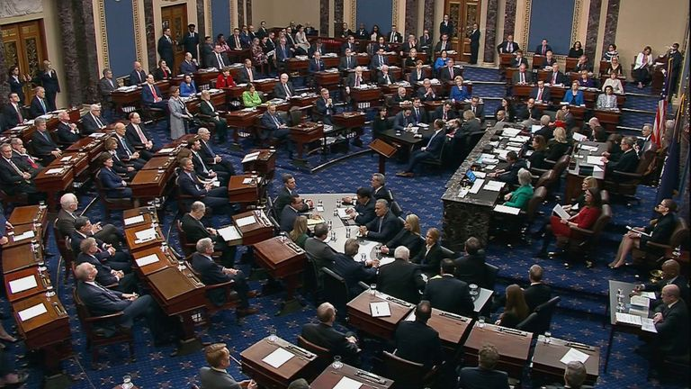 Senators cast their votes on the first article of impeachment abuse of power during the final votes in the Senate impeachment trial of U.S. President Donald Trump in this frame grab from video shot in the Senate Chamber at the U.S. Capitol in Washington, U.S., February 5, 2020