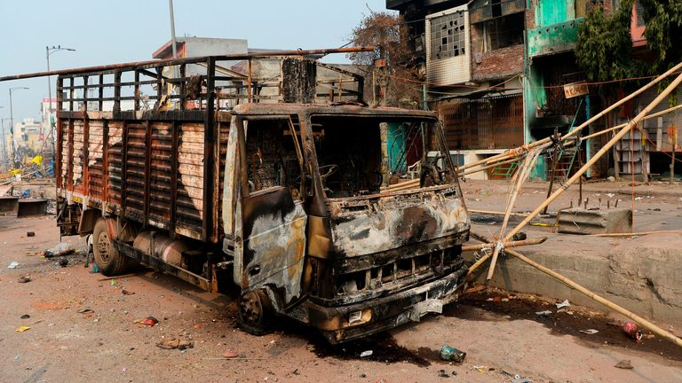 Vehicles, buildings and businesses were set alight during the rioting in New Delhi