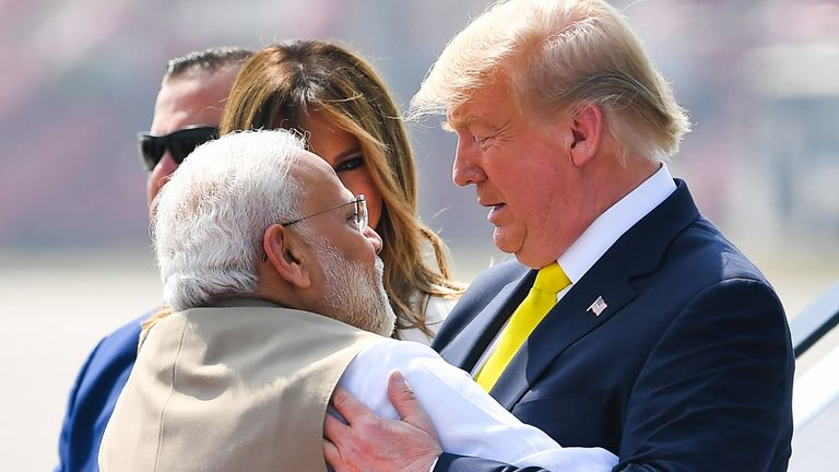 The two leaders embraced warmly upon Mr Trump's arrival