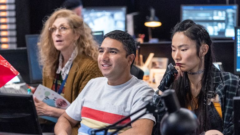 Nick Mohammed (pictured) and David Schwimmer star in new comedy Intelligence. Pic: ©Sky UK Limited
