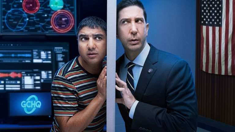 David Schwimmer and Nick Mohammed star in Intelligence. Pic: © Sky UK Limited
