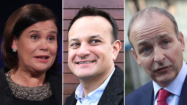 L/R: Sinn Fein's Mary Lou McDonald, PM Leo Varadkar and Fianna Fail's Michael Martin