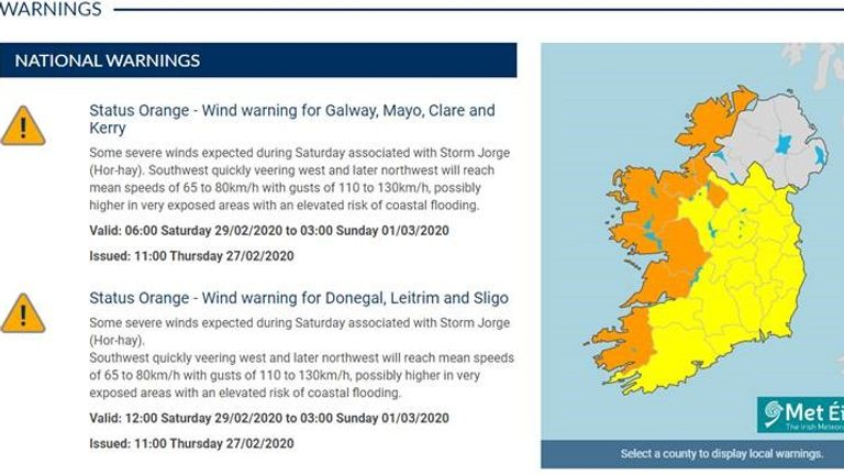 Strong winds will hit Ireland on Saturday