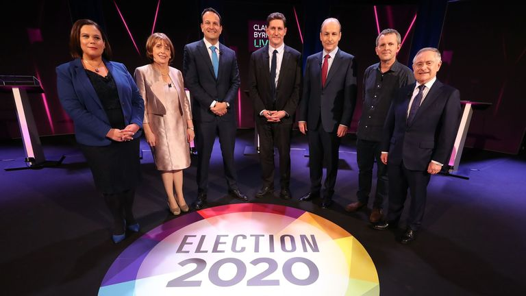 (L-R) Sinn Fein leader Mary Lou McDonald, Social Democrats joint leader Roisin Shortall, Fine Gael leader, Taoiseach Leo Varadkar, Green Party leader Eamon Ryan, Fianna Fail leader Micheal Martin, Solidarity People Before Profit politician Richard Boyd Barrett and Irish Labour Party leader Brendan Howlin pose as they take to the stage for the seven way RTE leaders debate at the National University of Ireland Galway (NUIG) campus in Galway, Ireland on January 27, 2020.