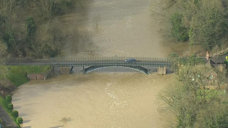 Chopper shot of the Ironbridge flooding.