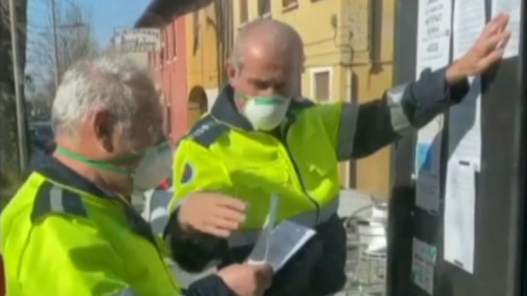Several Italian towns were under lockdown on February 25 as the number of coronavirus cases in the country climbed to 229.