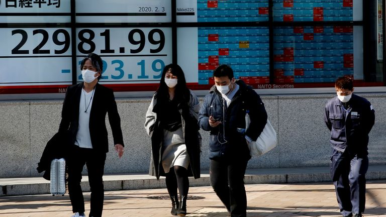 People wearing surgical masks walk past a screen showing Nikkei index outside a brokerage in Tokyo