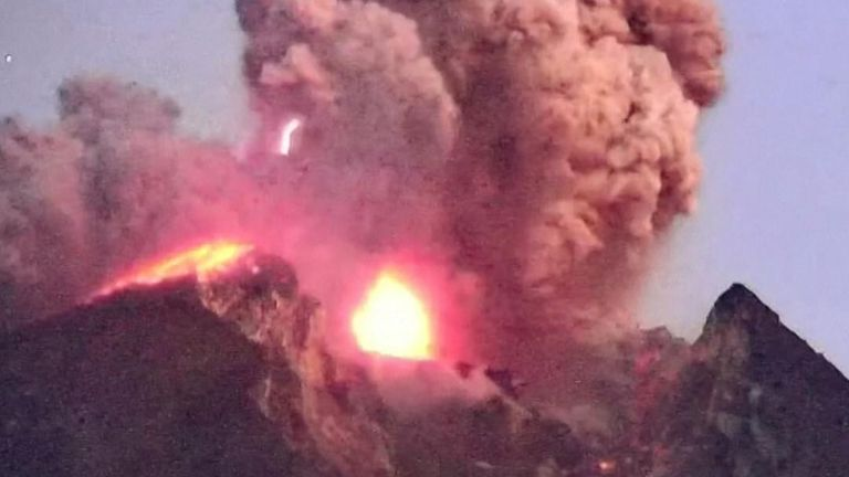 Mount Merapi spews lava and ash aloft