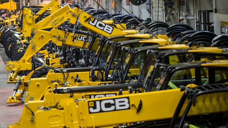 Picture shows JCB Telescopic Handlers on the production line at the JCB World Headquarters in Rocester England on March 19 2015.