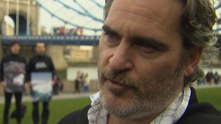 Joaquin Phoenix joins a protest in London to emphasise the benefits of being vegan