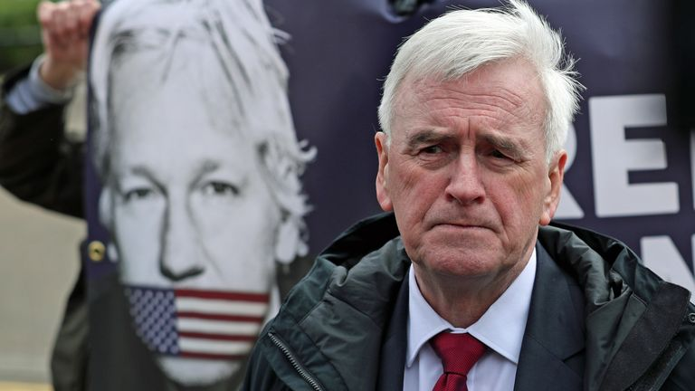 Shadow Chancellor John McDonnell outside HMP Belmarsh in London, where he is visting Wikileaks founder Julian Assange ahead of his court battle against extradition to the US which is expected to open on Monday.
