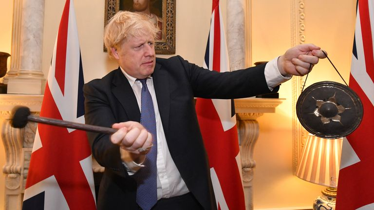 Boris Johnson struck a gong as the UK left the EU at 11pm on Friday. Pic: 10 Downing Street