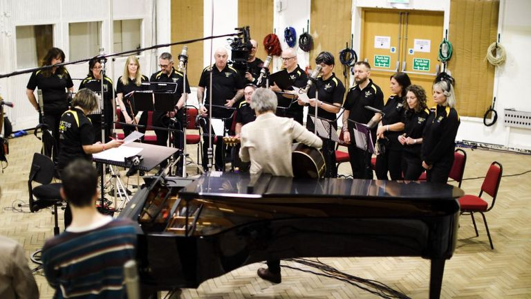 Bon Jovi and the choir were rehearsing 'all day' on Thursday. Pic: Twitter/@WeAreInvictus