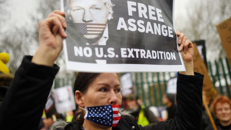 Supporters outside the court demanded Assange be immediately released