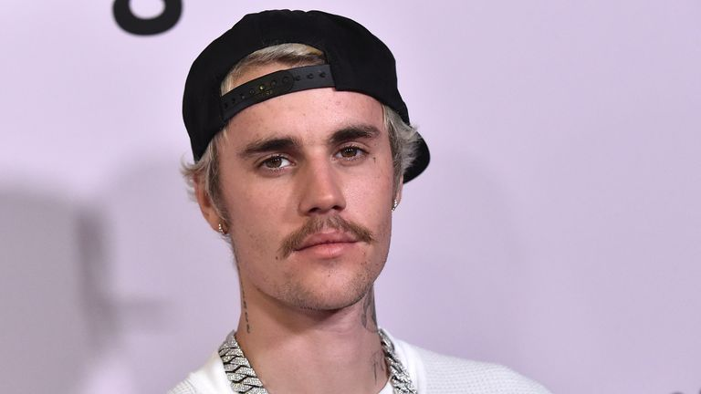 "Canadian singer Justin Bieber arrives for YouTube Originals' ""Justin Bieber: Seasons"" premiere at the Regency Bruin Theatre in Los Angeles on January 27, 2020"