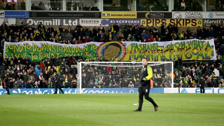 Norwich City fans displayed a banner commemorating Fashanu's 1980 goal of the season