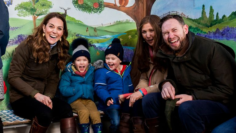 Kate met local children and parents at a farm near Belfast on Wednesday to discuss their experiences of raising young children for her Early Childhood survey