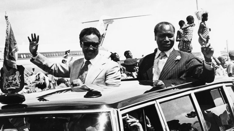 Daniel Arap Moi (right) in Nairobi in 1979
