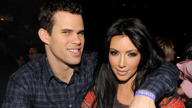 "Kris Humphries and Kim Kardashian watch Prince perform during his ""Welcome 2 America"" tour at Madison Square Garden on February 7, 2011 in New York City"