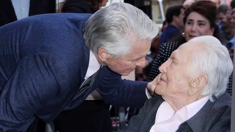 Michael Douglas and his father Kirk. Pic: Matt Baron/Shutterstock