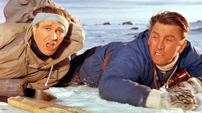 Richard Harris and Kirk Douglas in the film The Heroes of Telemark