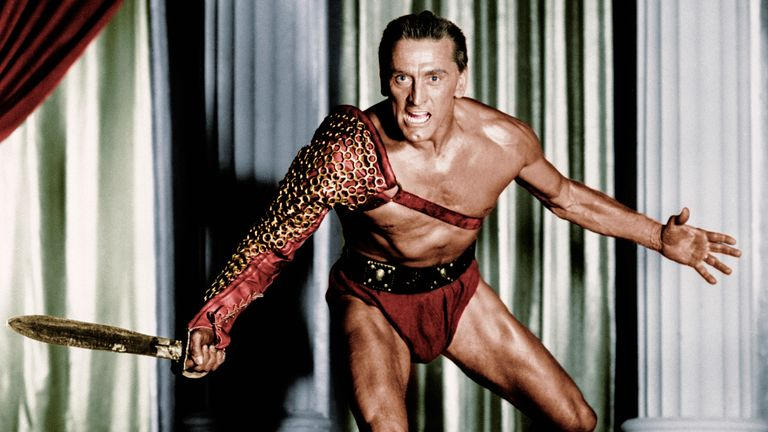 Kirk Douglas as Spartacus in one of his most famous films