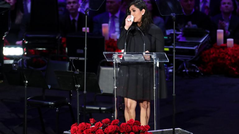 Vanessa Laine Bryant reacts during a public memorial for her late husband, NBA great Kobe Bryant, her daughter Gianna and seven others killed in a helicopter crash on January 26, at the Staples Center in Los Angeles, California, U.S., February 24, 2020. REUTERS/Lucy Nicholson