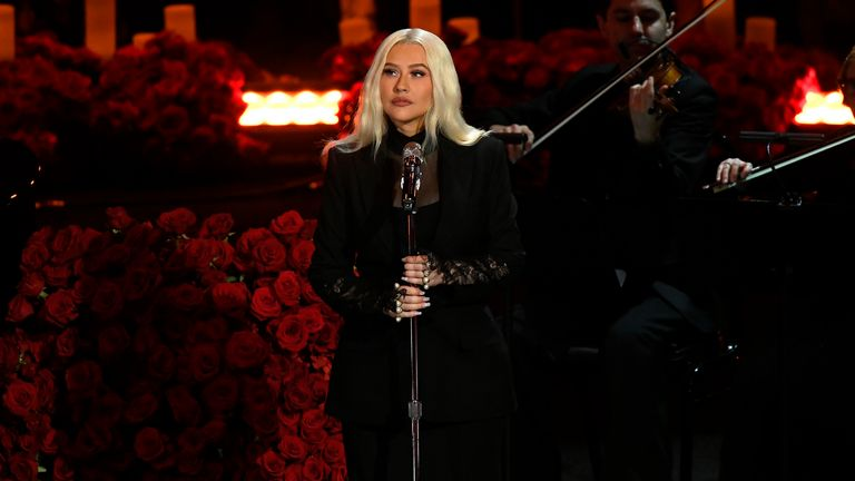Christina Aguilera was one of several singers who performed in memory of Bryant